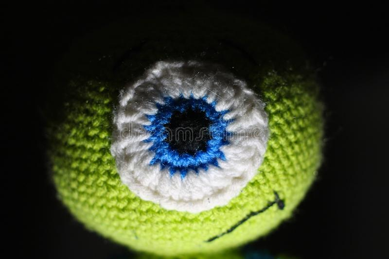 Crotchet alien toy. Child& x27;s stuffed toy stock images