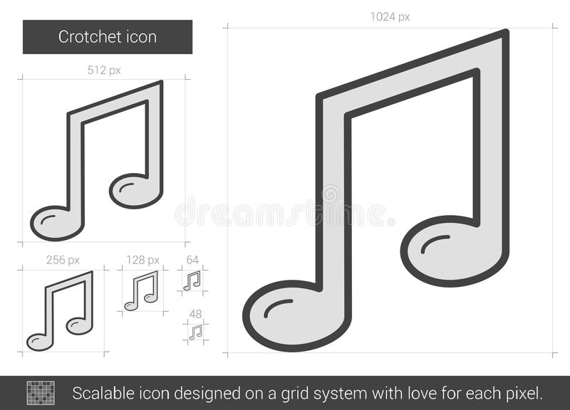 Crotchetlinje symbol stock illustrationer