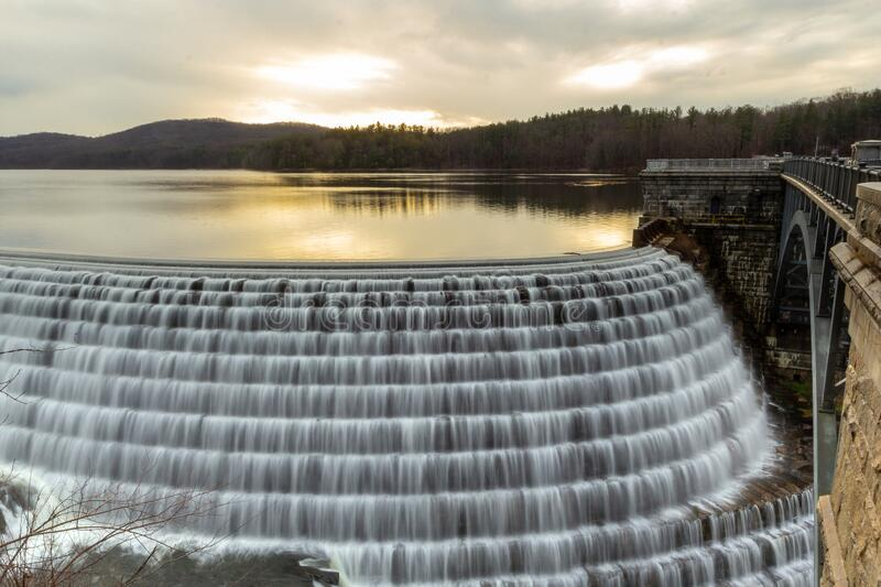 Croton-On-Hudson,  NY / United States - Jan 12, 2020: view of the New Croton Dam. Landscape image of the dam and reservoir at sunrise royalty free stock photography