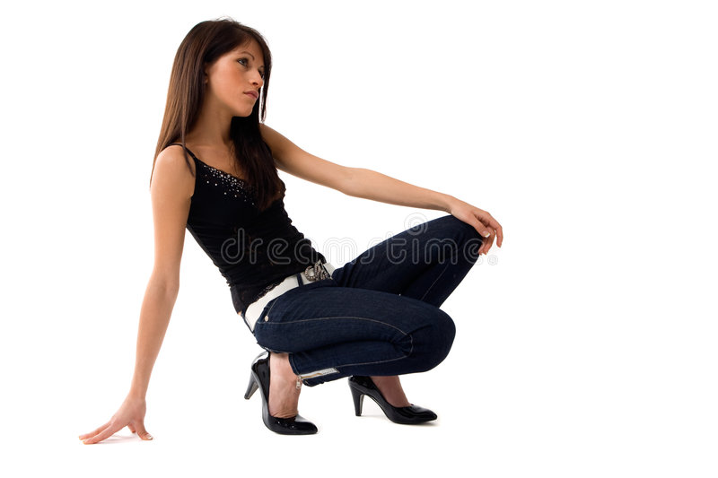 Crouched Girl Stock Image
