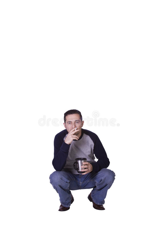 Download Crouched Man Smoking And Drinking Coffee Stock Image - Image: 13135535