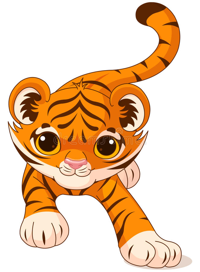 Crouching baby tiger. Illustration of crouching cute baby tiger stock illustration