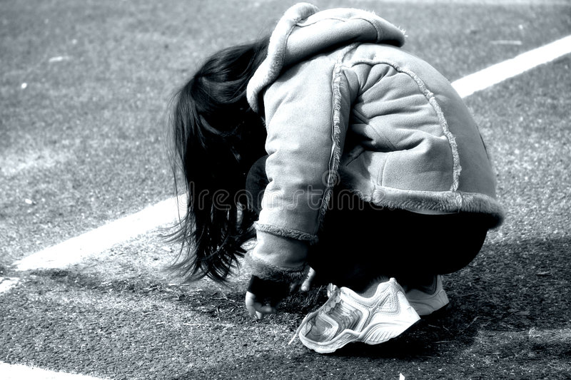 Download Crouching Girl stock image. Image of street, faceless, young - 94991