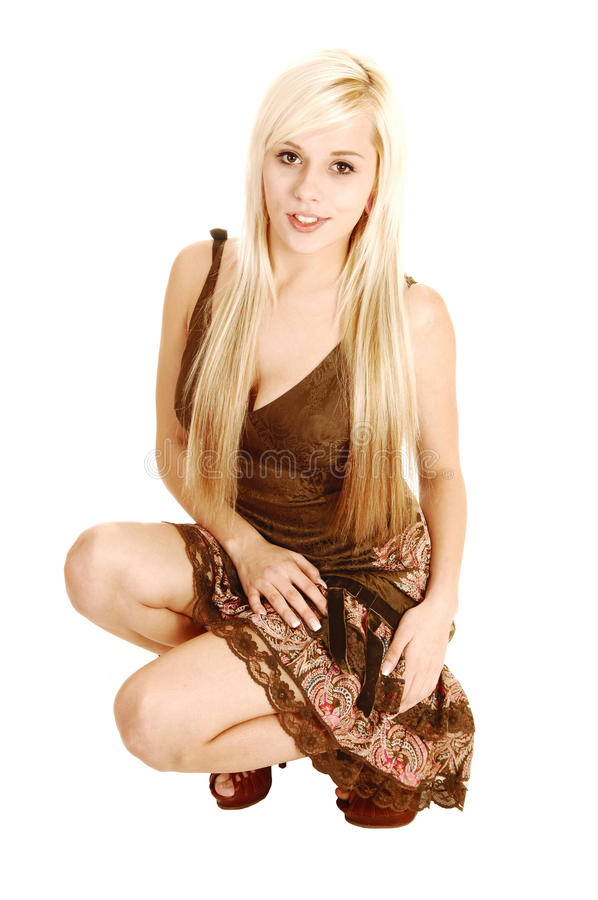 Download Crouching girl in dress. stock photo. Image of dress - 28521766