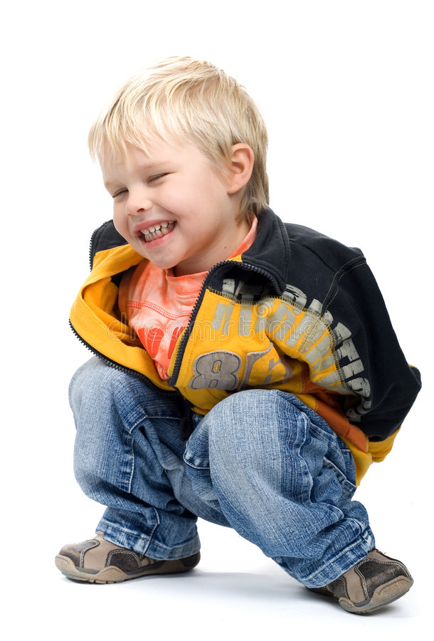 Download Crouching Little Boy stock image. Image of fair, casual - 1876055