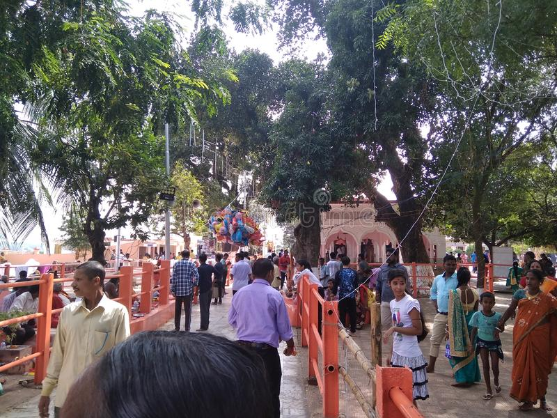 Croud, at a temple, stock image