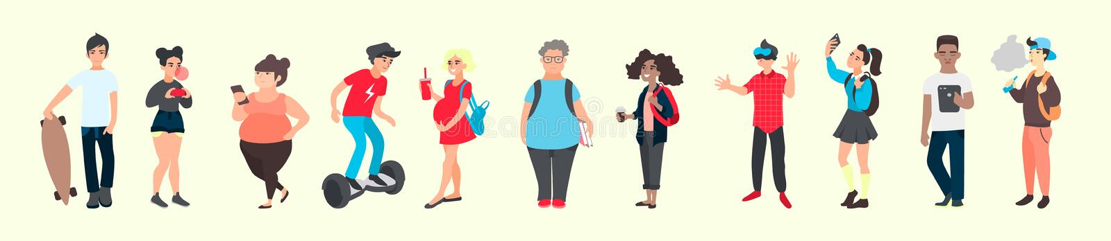 Croud of young people. Teen activities and teenager problems concept. Group of international diverse teenage persons stock illustration