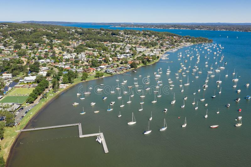 Croudace Bay - Valentine - Lake Macquarie Newcastle NSW Australia. View of Valentine and the moored boats in Croudace Bay - Lake Macquarie - Newcastle NSW royalty free stock image