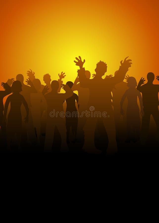Crouds degli zombie illustrazione vettoriale