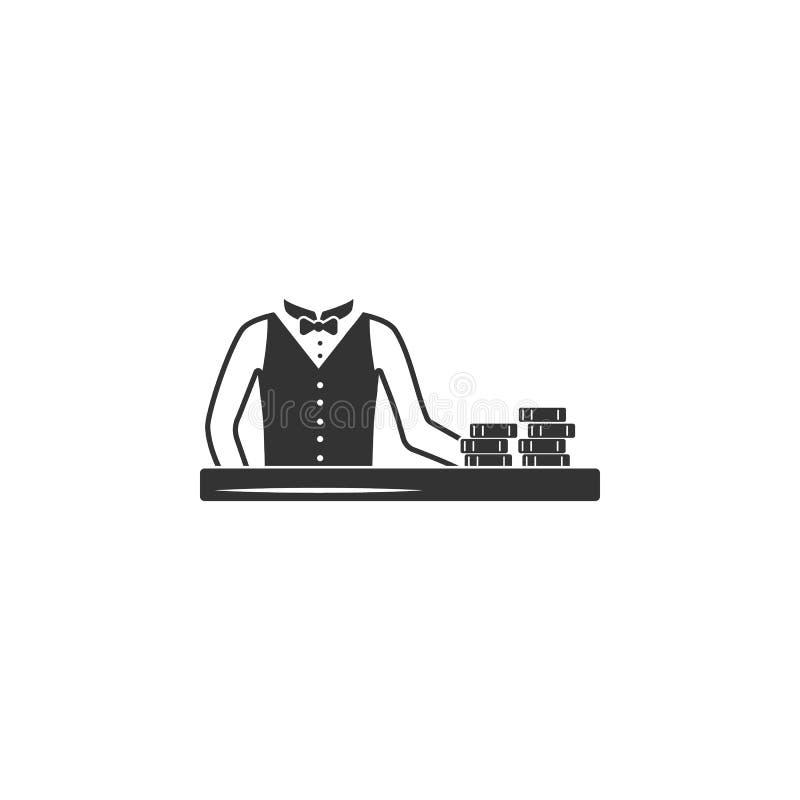 Croupier dans l'icône de casino Élément d'icône d'aéroport pour des applis mobiles de concept et de Web Le croupier affecté dans  illustration stock