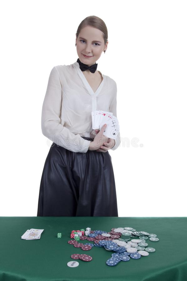 Croupier de fille dans un casino photo libre de droits