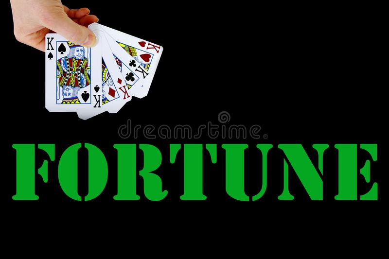 Croupier player holding card aces four of a kind fortune. Croupier player holding in hand card ace of spades four of a kind on black background fortune royalty free stock photo