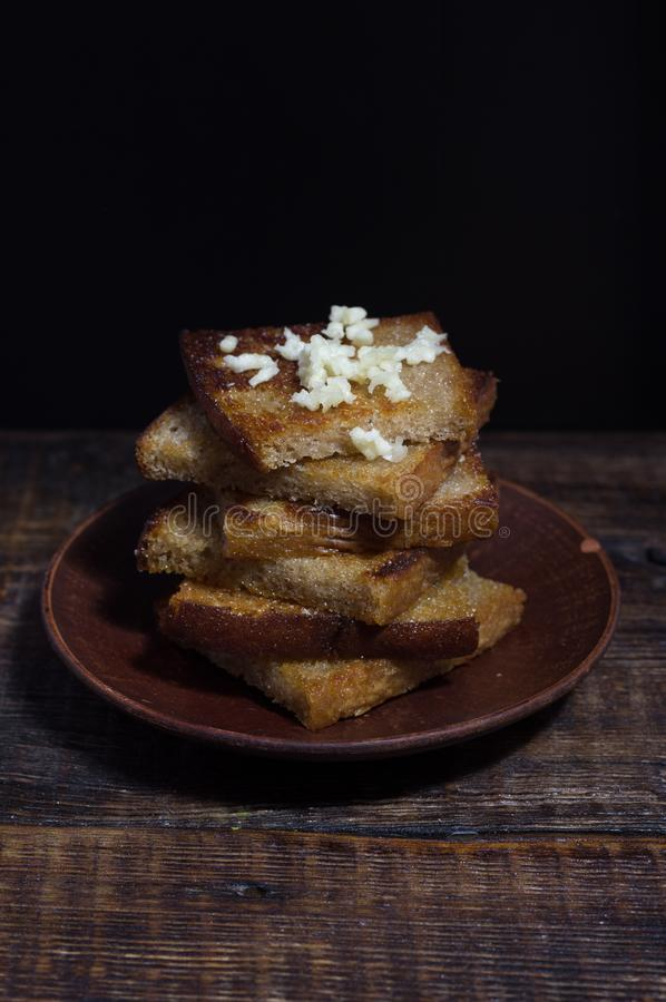 Croutons on a clay plate. Toast with garlic royalty free stock photos