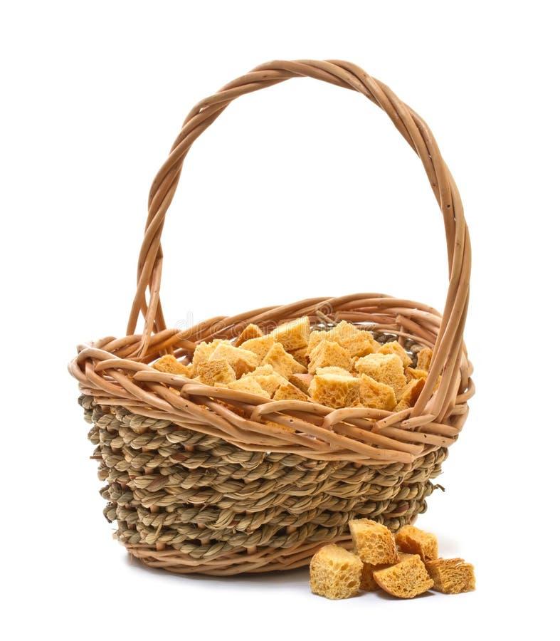 Croutons des weißen Brotes stockfotos
