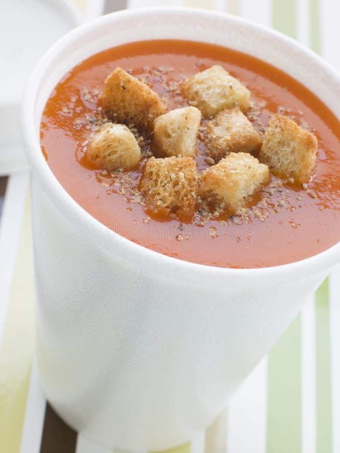 croutons filiżanki polewki pomidor zdjęcie stock