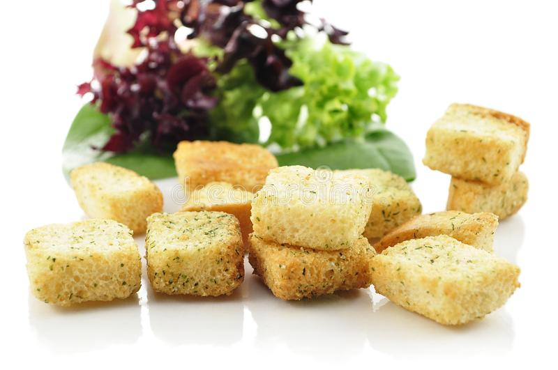 Download Croutons and salad leaves stock image. Image of food - 14317659
