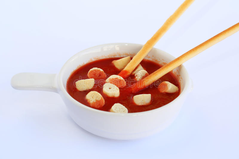 Croutons and sauce royalty free stock photo