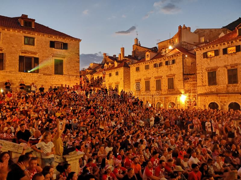 CROvsRUS, worldcup2018, Dubrovnik στοκ φωτογραφία με δικαίωμα ελεύθερης χρήσης