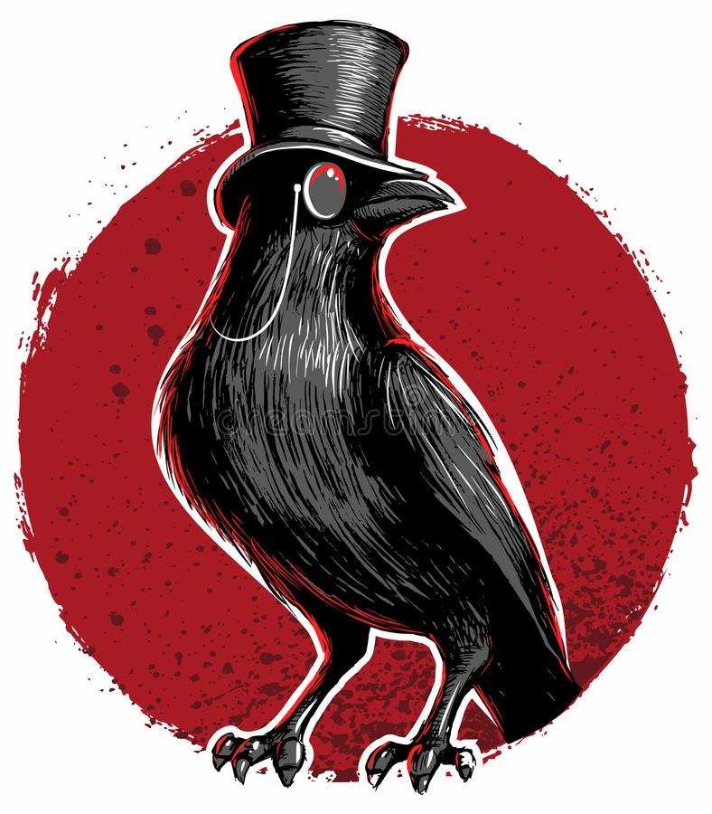 Crow, blackbird with top hat and monocle. stock illustration