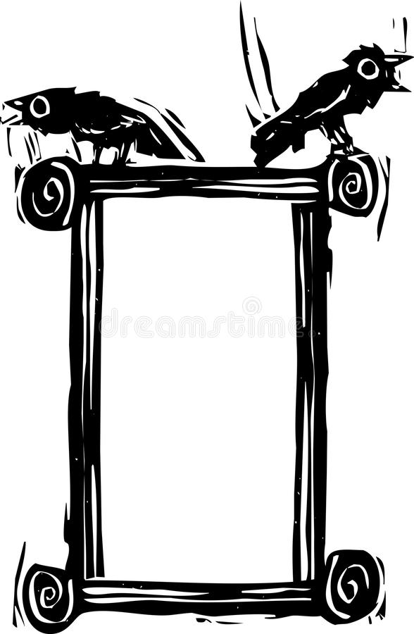Download Crow Box stock vector. Image of woodcut, frame, death - 31474878