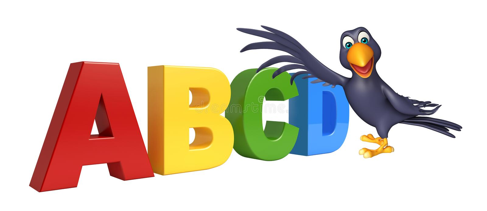 Crow cartoon character with abcd sign. 3d rendered illustration of Crow cartoon character with abcd sign vector illustration