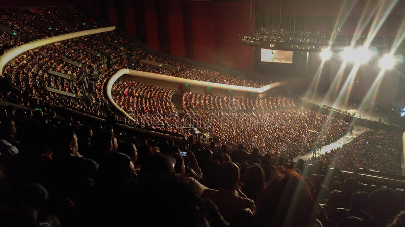 Crowd concert. A lot of people waching a concert royalty free stock images