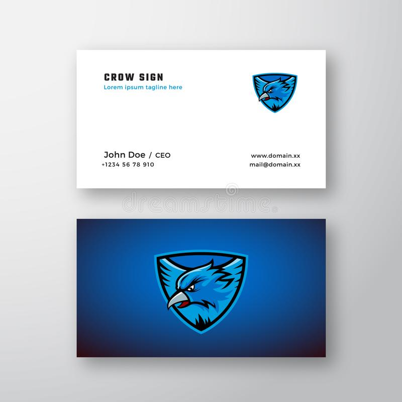 Crow or Eagle Emblem Abstract Vector Logo and Business Card Template. Flying Bird Illustration in a Shield on Blue vector illustration