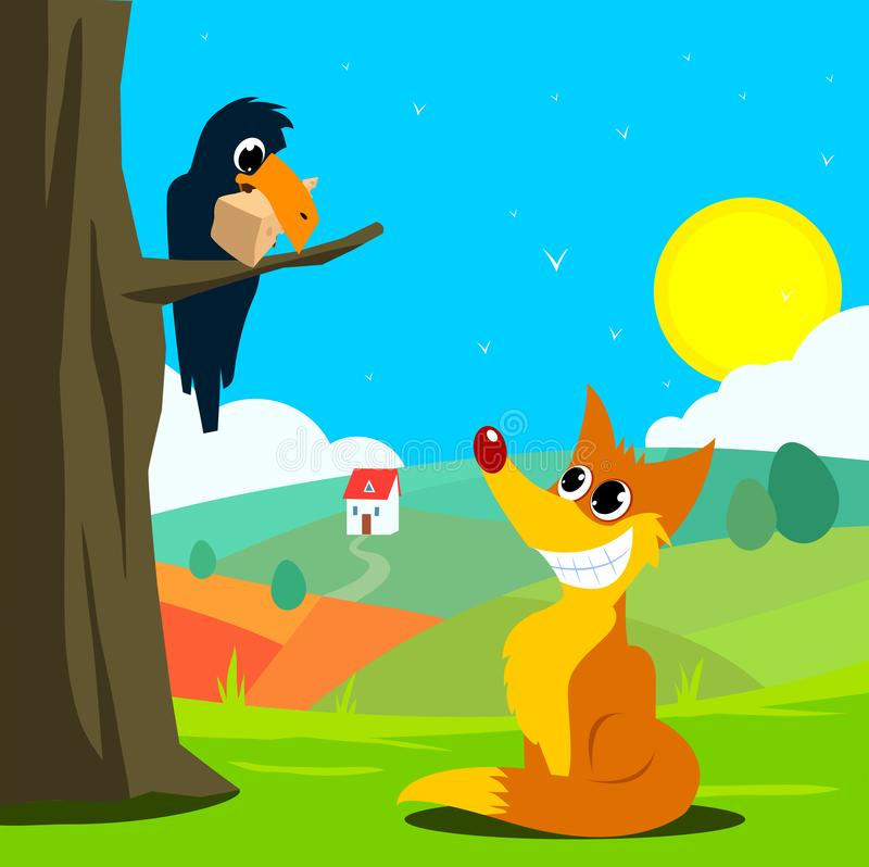 Crow and fox fabl vector illustration