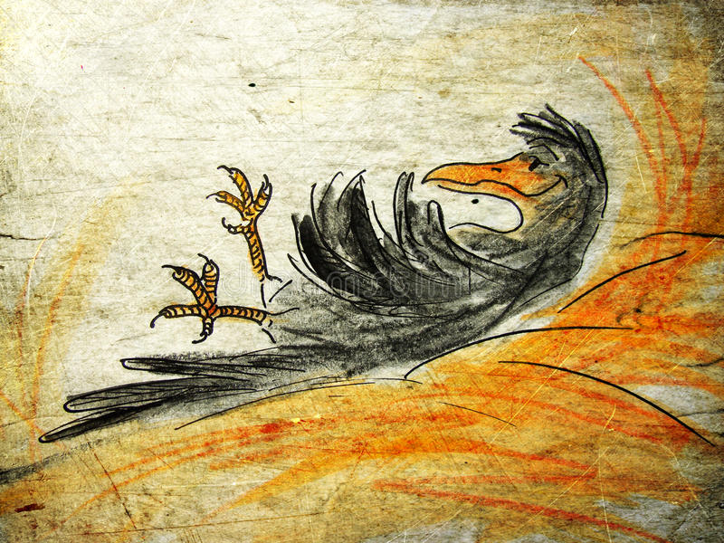 Crow in haystack. Illustrated crow in haystack on grunge background royalty free illustration
