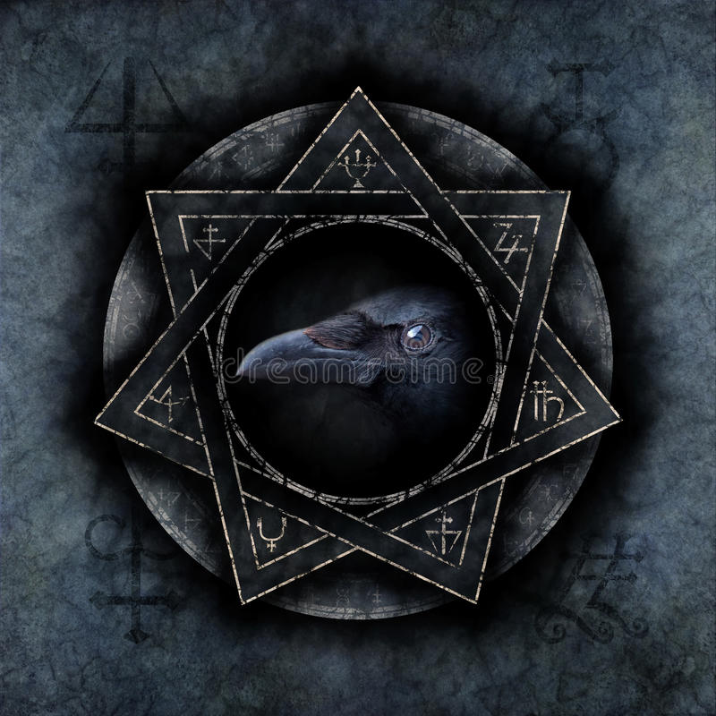 Crow Magic. With a sinister crow head materialising within an elaborate circular emblem of mysterious and arcane occult symbolism stock images