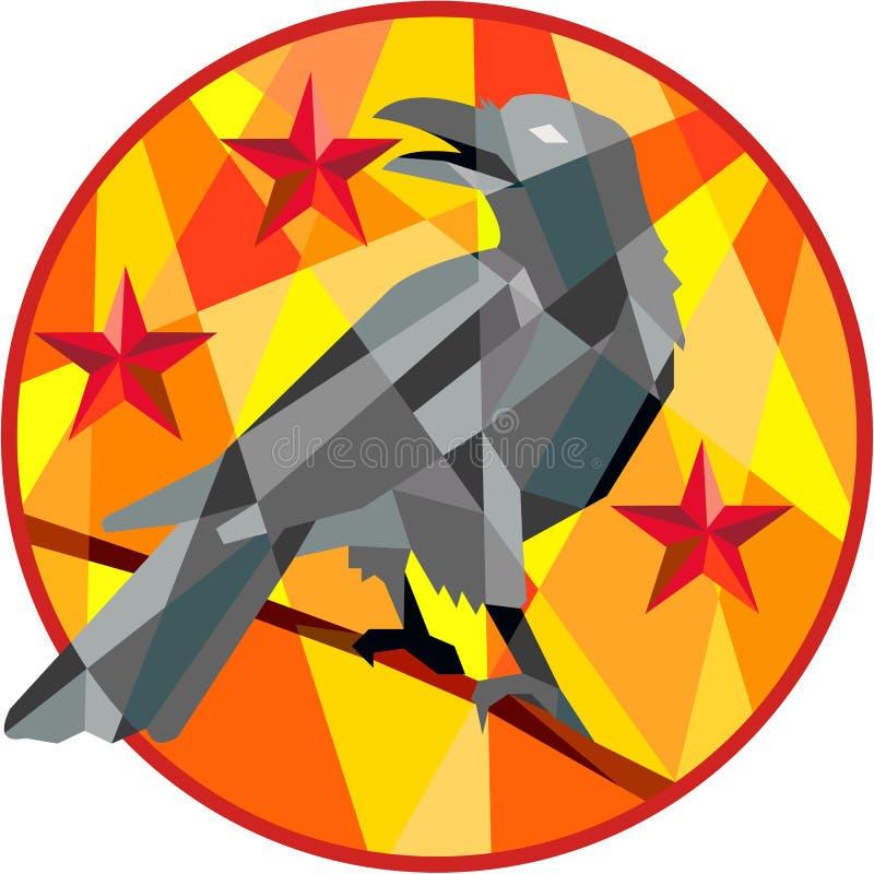 Crow Perch Stars Circle Low Polygon royalty free illustration