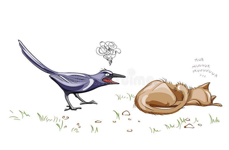 Crow screaming at a lazy cat Vector. cartoon style illustrations royalty free illustration