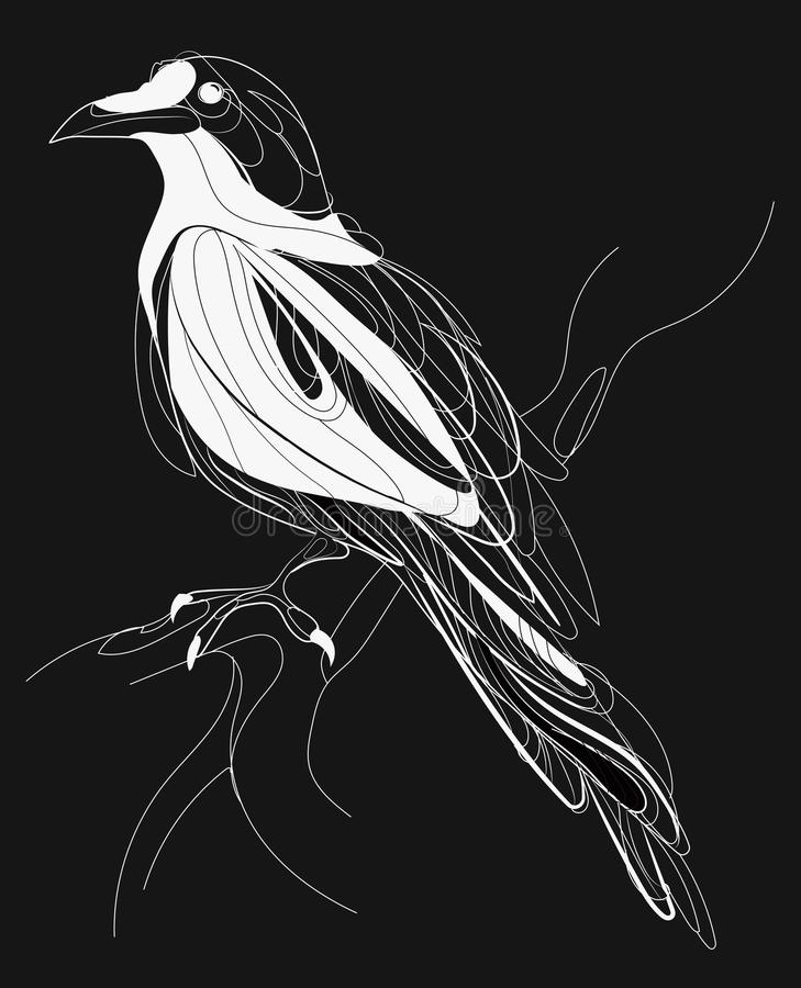 A crow sitting on a branch. Stylized magpie on a tree. Black and white crow. Linear Art. Tattoo. Vector illustration. royalty free illustration