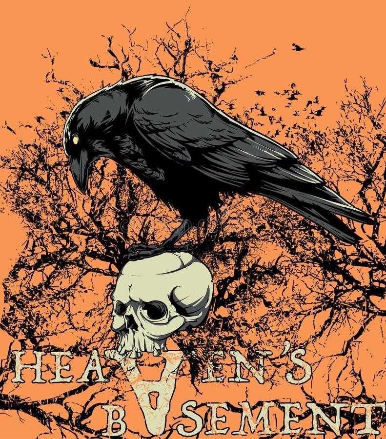 Heavens basement. A crow sitting on skull vector format vector illustration