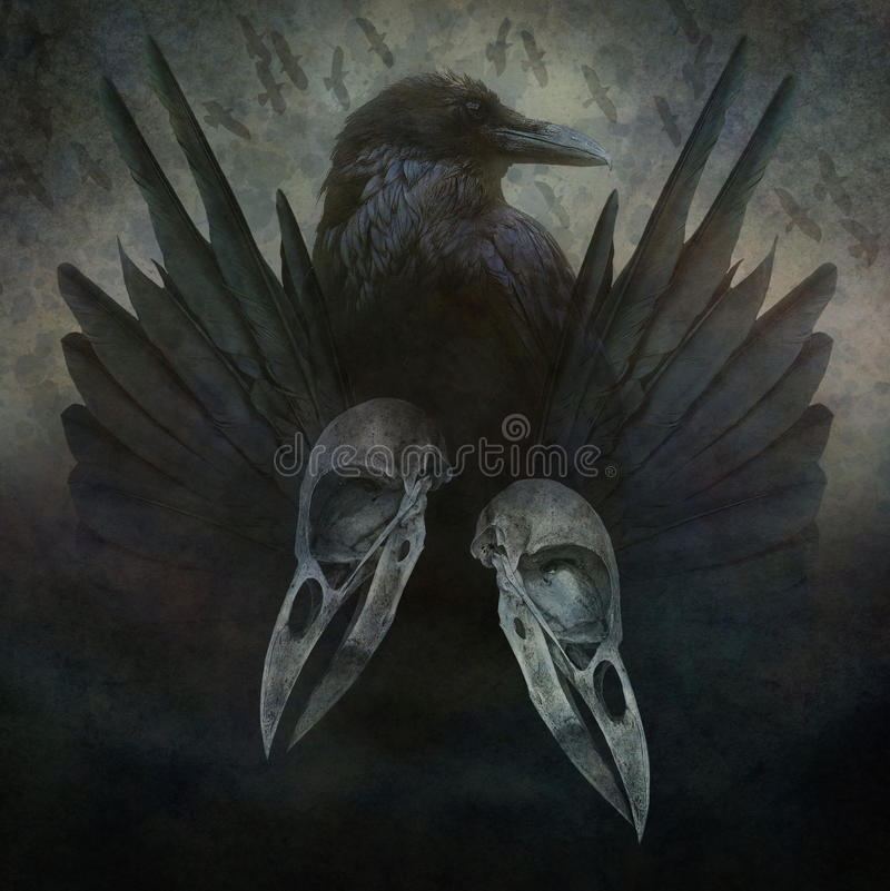Crow Spirit. Crow head, skulls, black wings and bird flock in flight emerging from a dark, sinister atmospheric background stock photo
