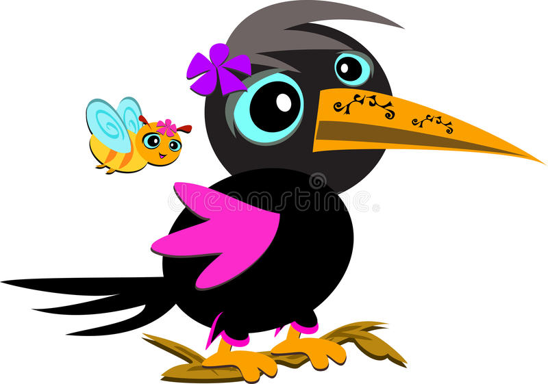 Download Crow with Tattoos stock vector. Image of flower, whimsical - 25303650