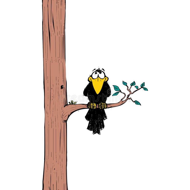 Crow on tree vector illustration