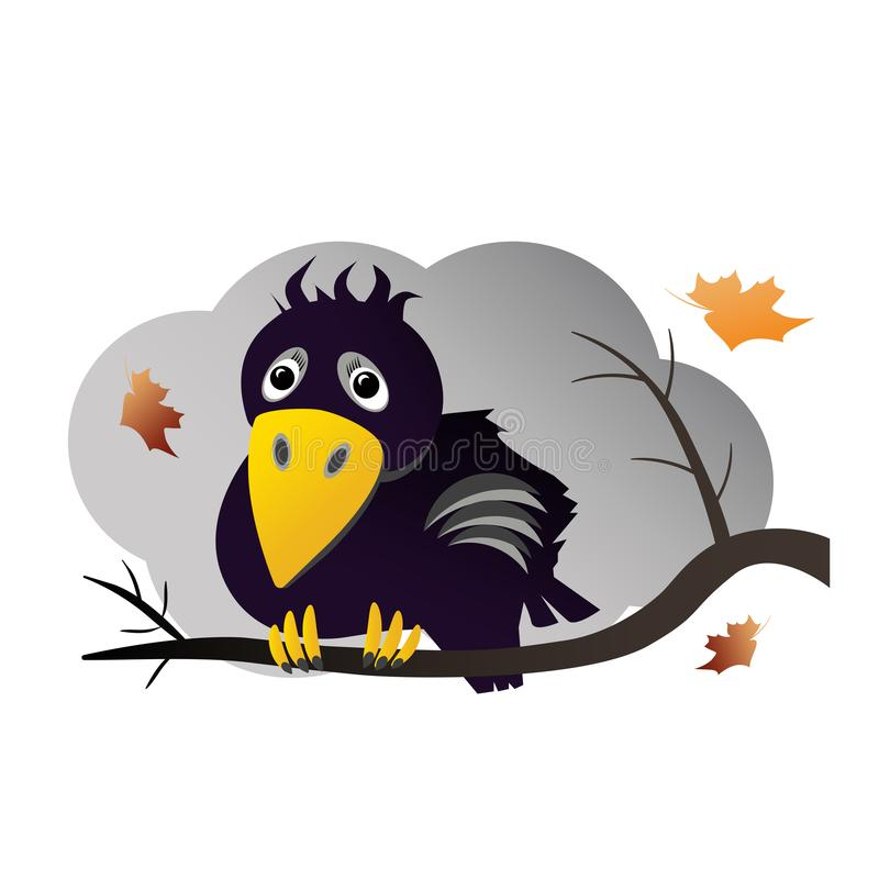 Crow on a tree branch stock illustration
