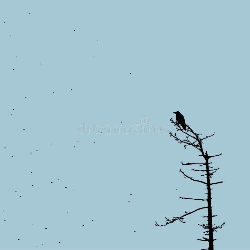 Crow on the tree stock illustration
