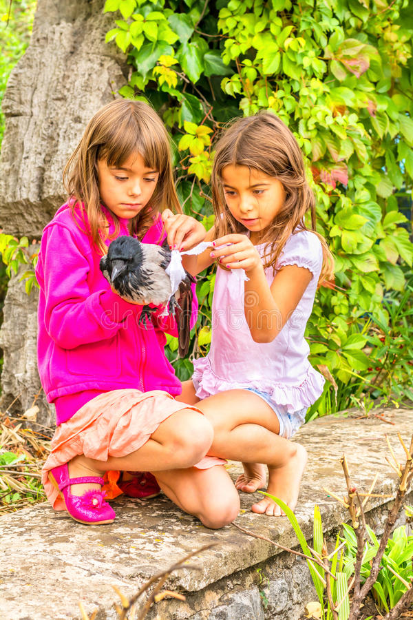 Crow and two little girls stock photos