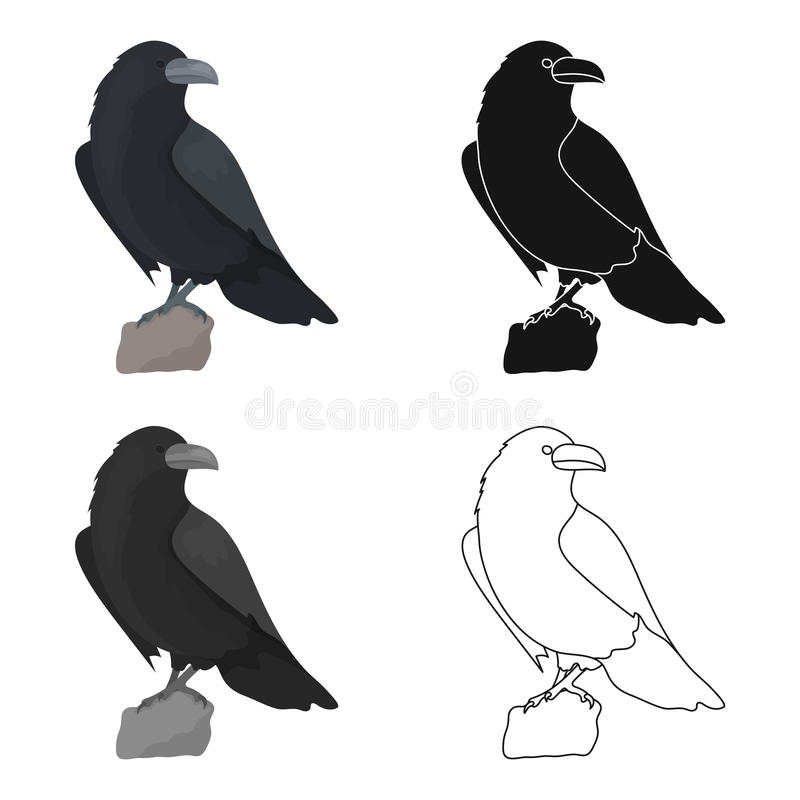 Crow Of Viking God Icon In Cartoon Style Isolated On White