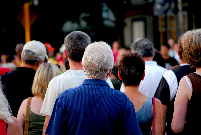 Crowd. Of people on busy city street royalty free stock photos