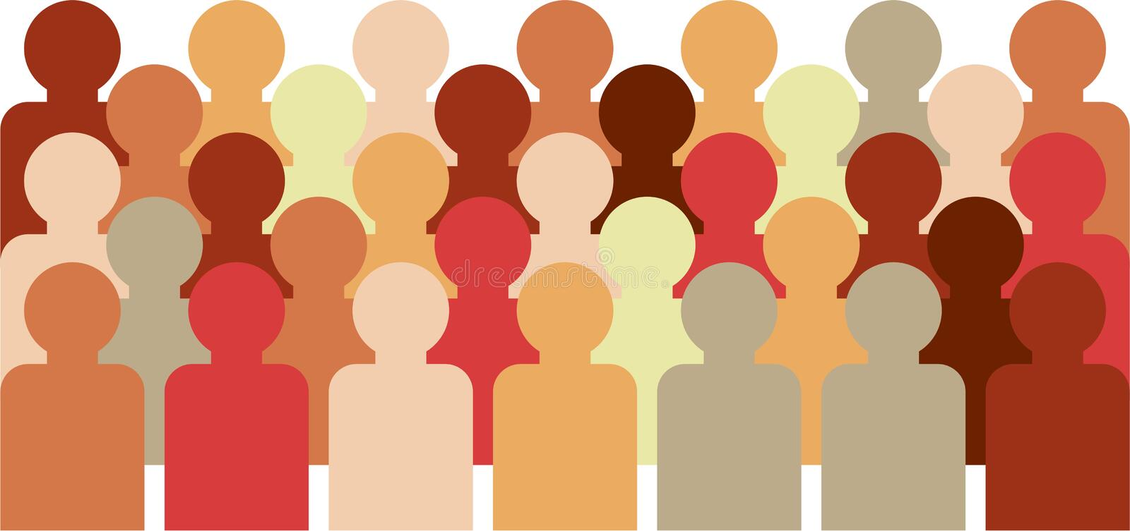 Crowd. Of faceless people with different skin tones vector illustration