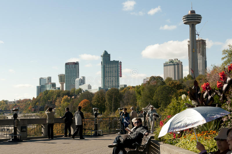 Crowd along the path of Niagara Falls royalty free stock photo