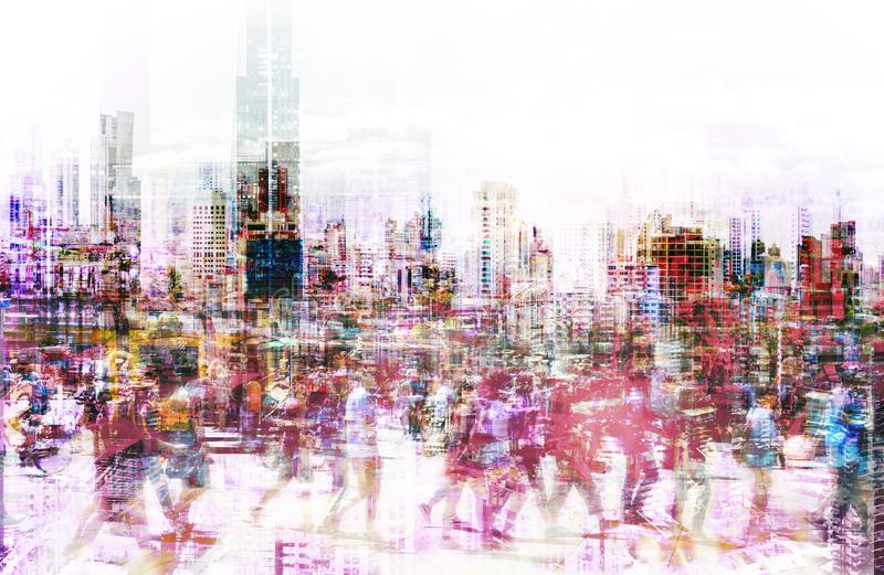 Crowd of anonymous people walking on busy city street - abstract city life concept stock photos