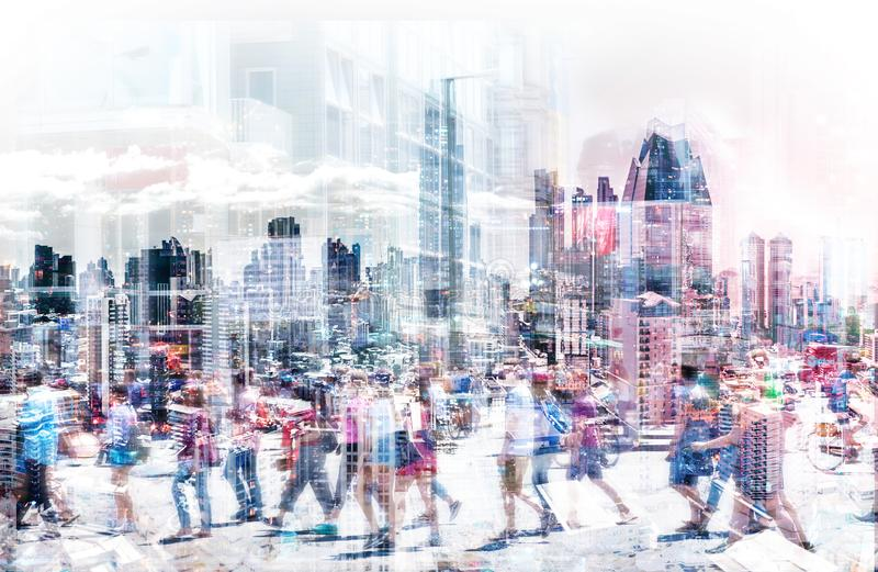 Crowd of anonymous people walking on busy city street - abstract city life concept royalty free stock photo
