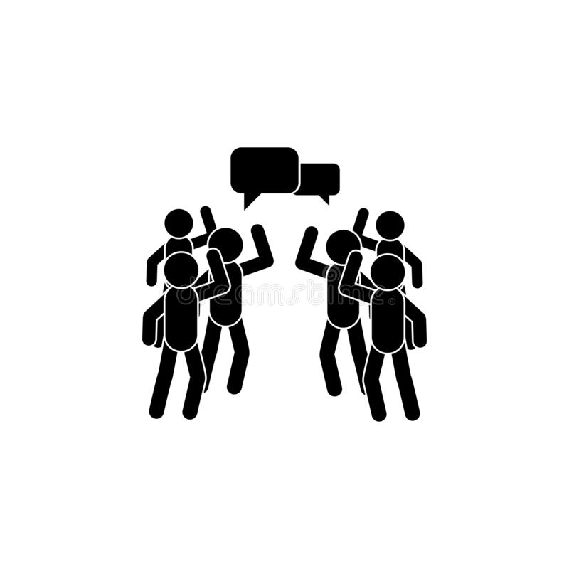 Crowd arguing icon. Simple glyph, flat vector of People talk icons for UI and UX, website or mobile application. On dark gradient background stock illustration