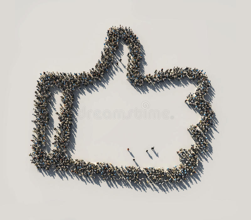 Crowd as the like symbol stock illustration