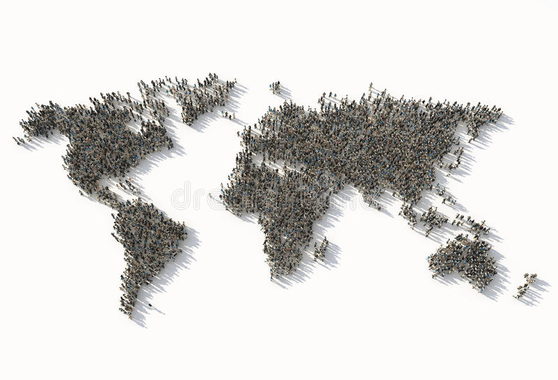 Crowd as a world map royalty free illustration