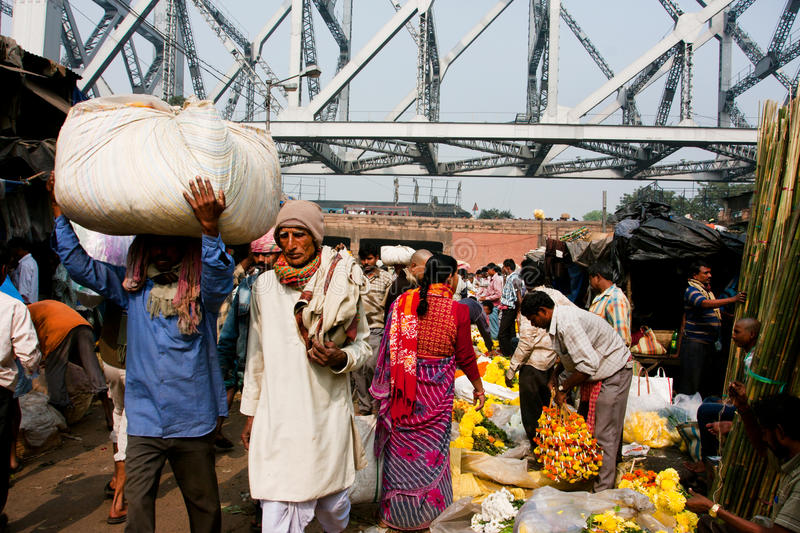 Download Crowd Of Asian People Rush Through The Flower Market Rows In Calcutta Editorial Photography - Image of india, ethnic: 35160447